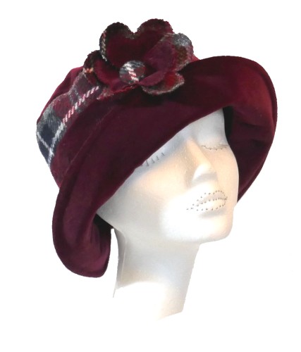 Handmade Harris Tweed & Red Wine velvet hat with flower trim Size S/M
