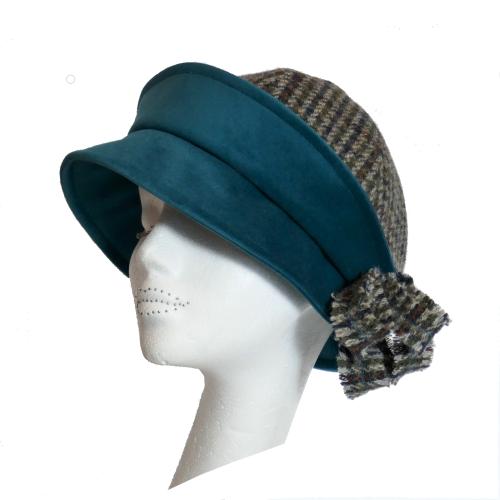 1920's style Handmade Blue/Grey Harris Tweed and Teal velvet Cloche hat S/M