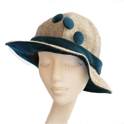 1920's style Handmade Harris Tweed and Teal velvet 1920's Cloche hat with b