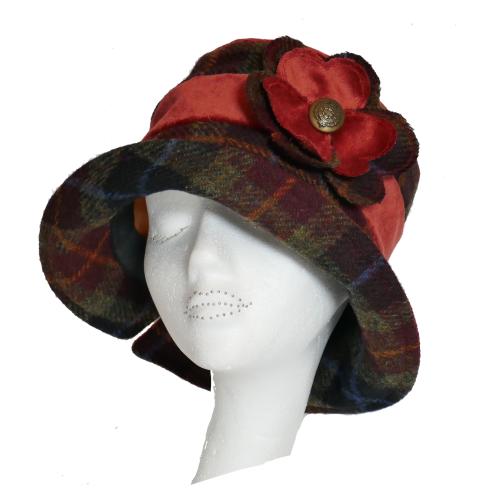 Handmade Harris Tweed & Burnt Orange velvet hat with flower trim Size M/L