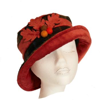 Handmade Harris Tweed & Burnt Orange velvet hat with acorn trim Size S/M