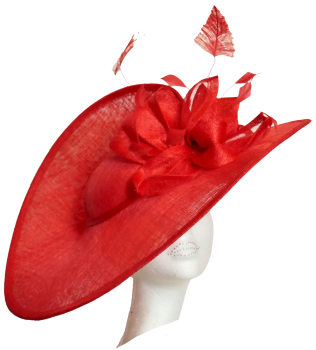 Dramatic large split disk hat WD5  in Poppy Red