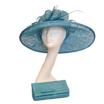 Turquoise sinamay hat with matching clutch bag AH1