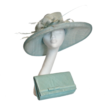 Aqua sinamay hat with matching clutch bag AH1