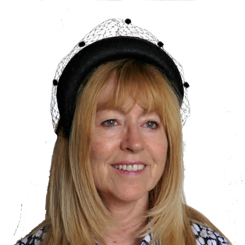 Black headband with veiling trim FM-9325