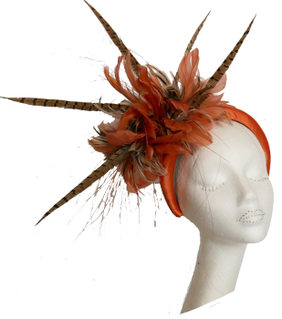 Handmade by Anna at The Beverley Hat Company - Orange satin headband with Pheasant feathers