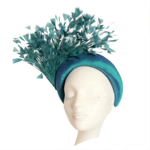 Handmade by Anna at The Beverley Hat Company - Teal silk headband with cut