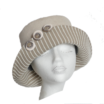 Ladies Sunhat in stripe & natural linen S/M
