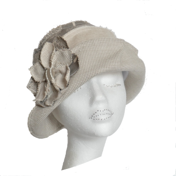 Ladies  Cloche Sunhat in natural linens SIZE MED