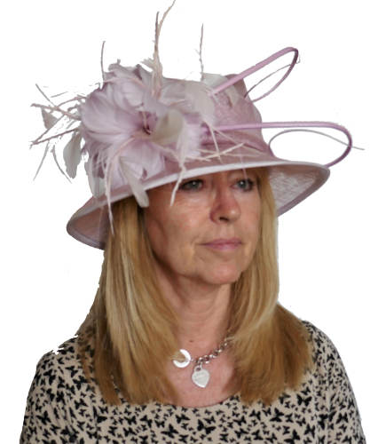 Pale Lilac Pink hat with feather trim JBM-195