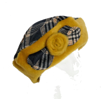Mustard and Navy Check Fleece beret
