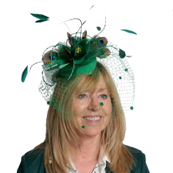 Emerald green crin and veling with peacock feathers ANN-04