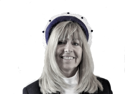 Dark Navy Blue headband with veiling trim HF6