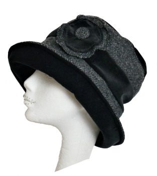Handmade Harris Tweed & Black velvet hat with flower trim Size M/L