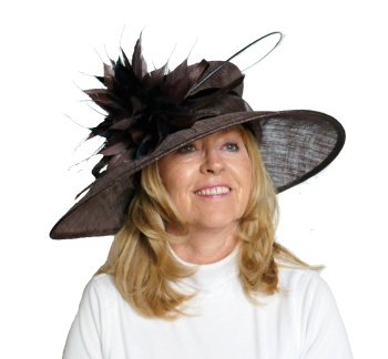 Winter wedding hat in brown velvet trim / black /choc feathers A11H08