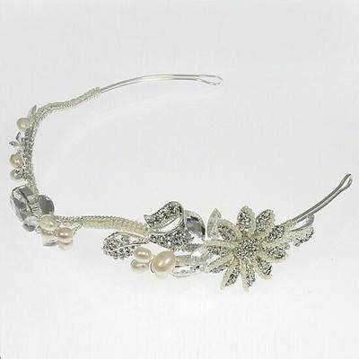 LT491 silver crystal, freshwater pearls & flower tiara