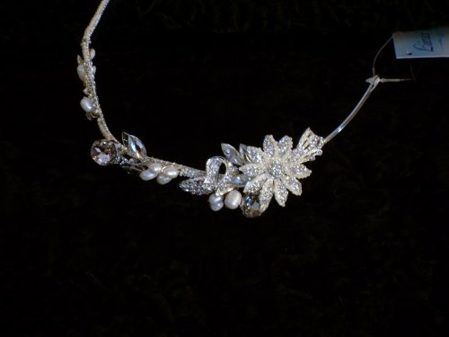 LJ-AR491 silver crystal, freshwater pearls & flower tiara
