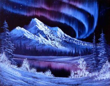 aurora mountain blue&crimson