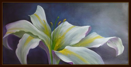 St Joseph Lily Painting with frame
