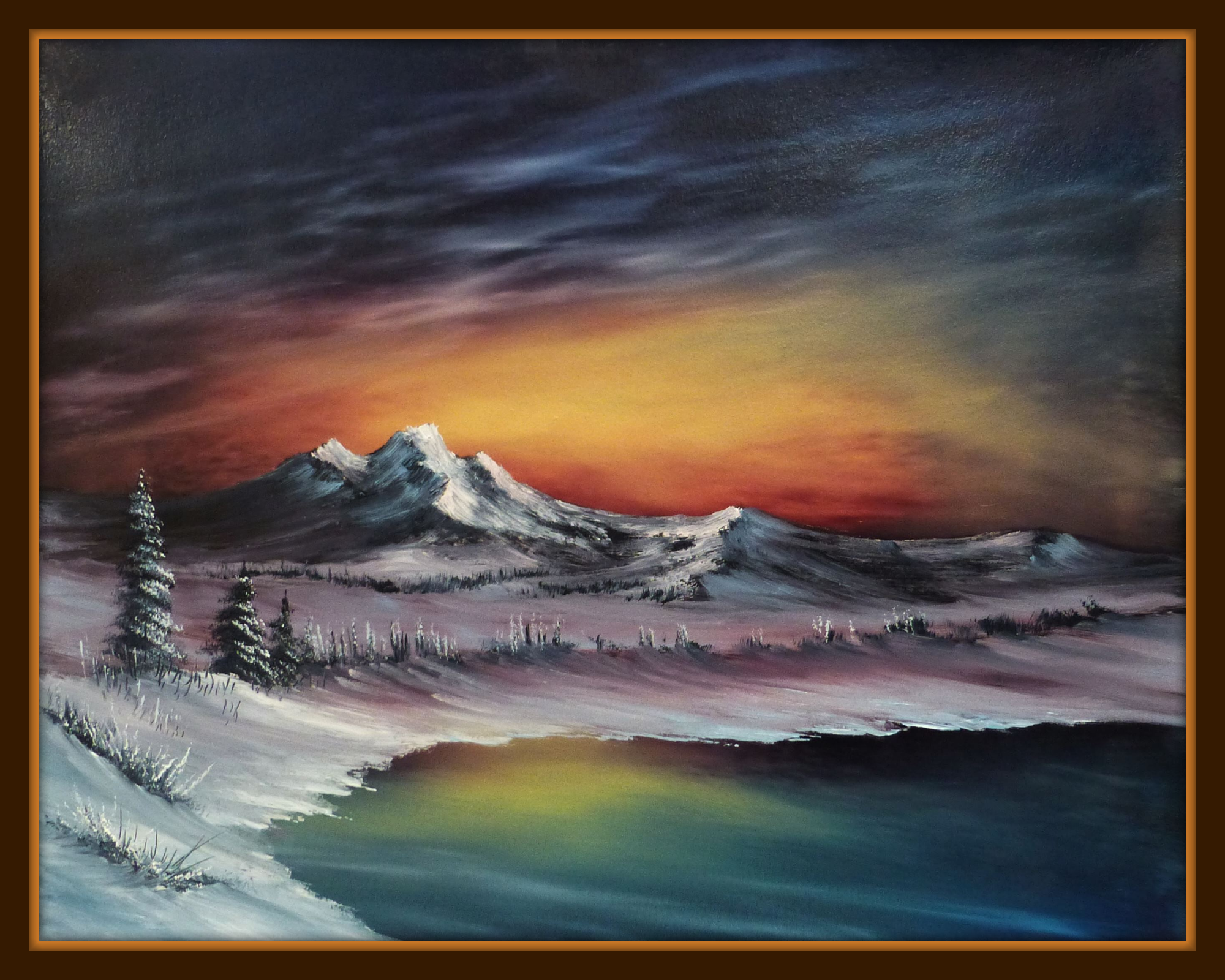 'Sunrise over the Mountain' an atmospheric sunrise painting.