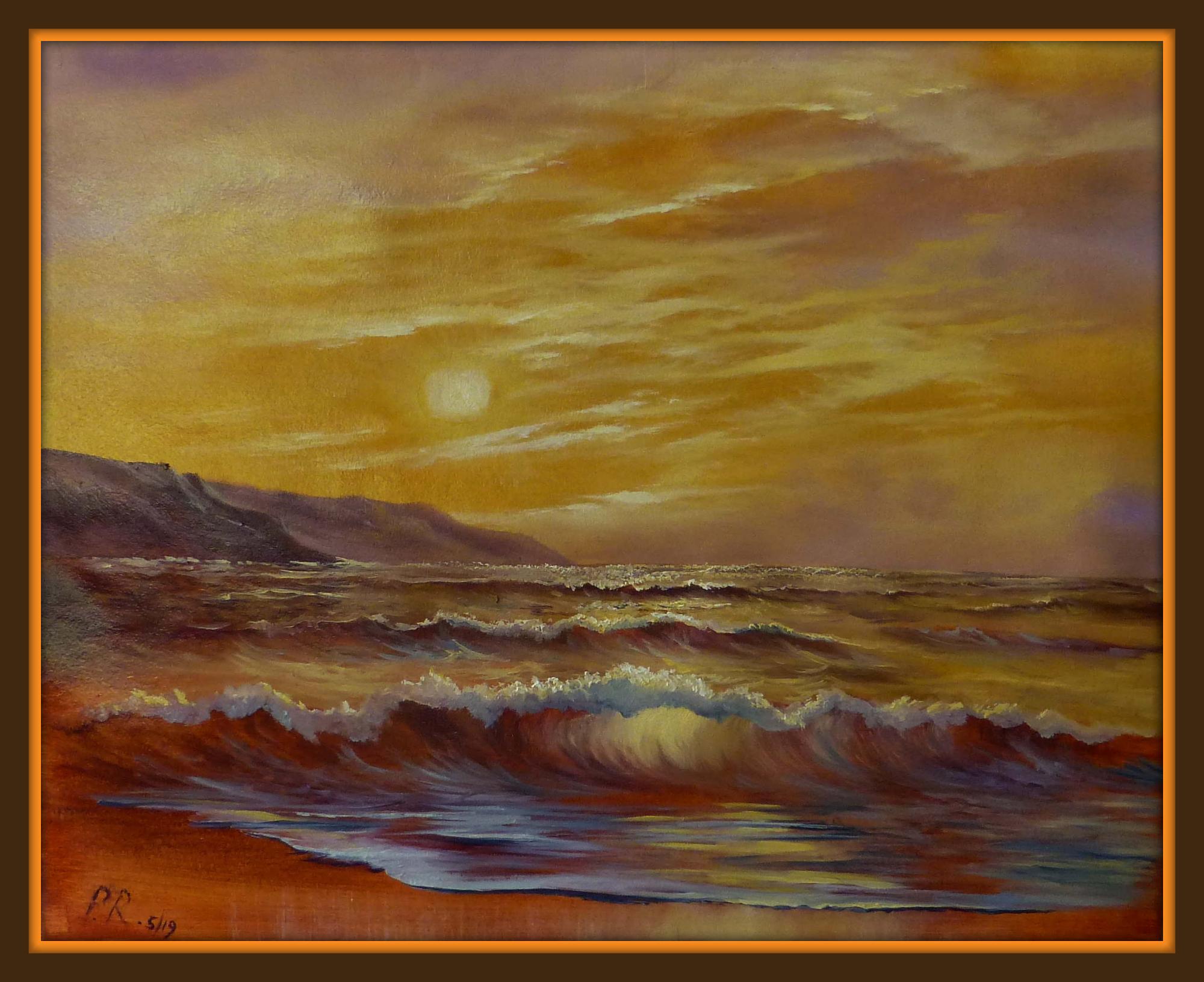 'Golden Seas' A shimmering wave scene in gold.
