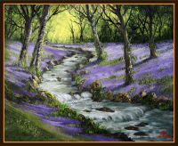 'Bluebell Woods and Stream' - Step by Step Class on Live Stream or DVD