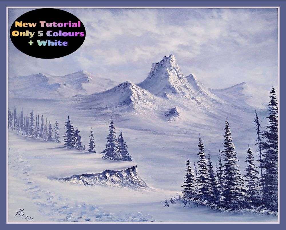 'Snowy Mountain View' Only Five Colours Step by Step Tutorial