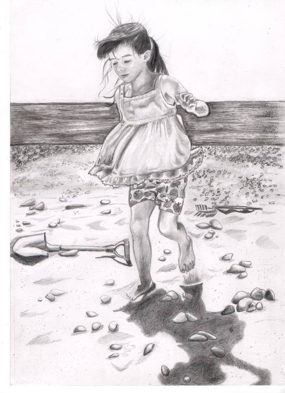 Pencil Drawing Of A Girl Walking On A Beach