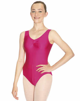 Sleeveless leotard with gathered front