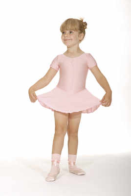 Short sleeved skirted leotard