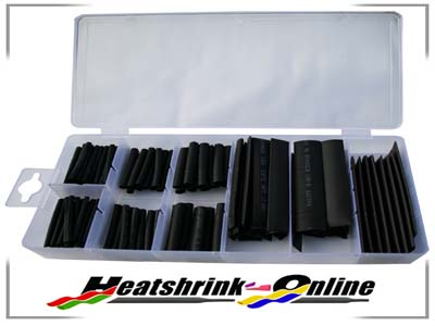 127 Piece Boxed Black Heatshrink Assortment Kit 2:1 Shrink Ratio