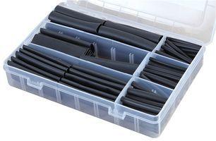120 Piece Boxed Adhesive Glue Black Heatshrink Assortment Kit 3:1 Shrink Ratio