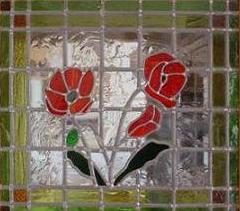 poppy design stained glass panel