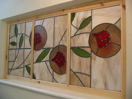 poppy art deco style modern stained glass in 3 panels