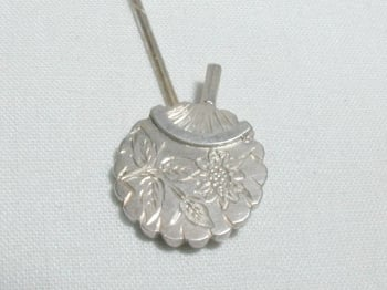 Antique Silver Chinese Fan Stick Pin