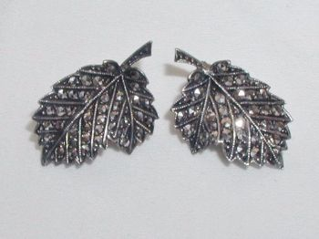 Art Deco Marcasite Sterling Silver Stone Clip Earrings