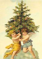 Christmas Tree Angel Angels Cherub Post Card 3009