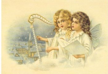 Christmas Angels Angel Harp Post Card 3052