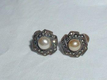 Art Deco Marcasite Sterling Silver Screw Back Fitting Earrings
