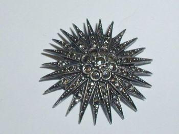 Art Deco Marcasite Sterling Silver Star Burst Brooch Pin