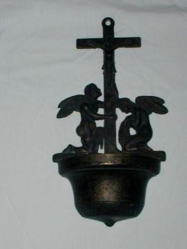 Antique Art Nouveau French Holy Water Font Angel Angels