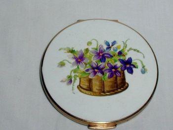 Vintage Statton Violets Basket Powder Compact