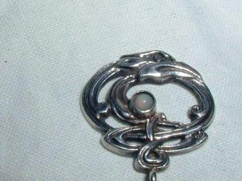 Antique Silver Opal Art Nouveau Entwined Stick Pin