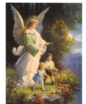 Antique Style Post Card Guardian Angel Watching Children