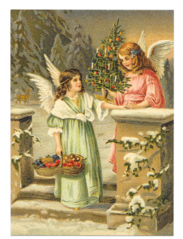 Antique Style Post Card Christmas Tree Angels Snow Scene