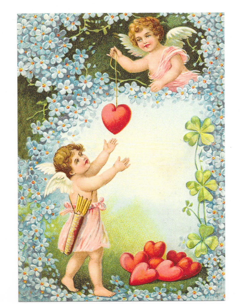 Antique Style Post Card Christmas Tree Angel Decorations