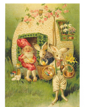 4 Antique Style Post Card Easter Egg Rabbit Bunny Gnomes