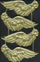 Dresden Scrap Gold Ornament Angel Wings 1137