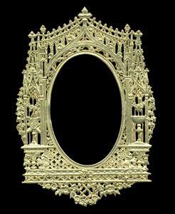 Dresden Scrap Gold Ornament Frame 1180