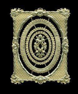Dresden Scrap Gold Ornament Frame 1192